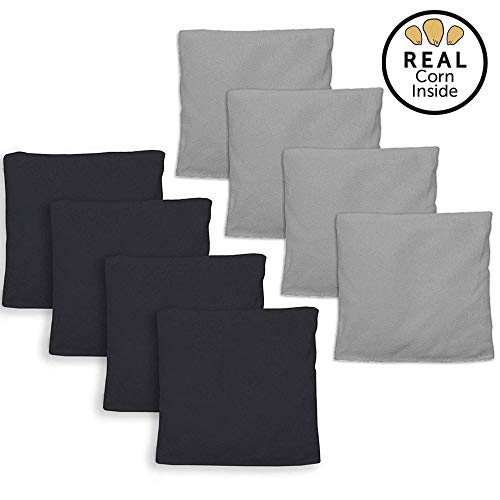 Corn Filled Cornhole Bags - Set of 8 Bean Bags for Corn Hole Game - Regulation Size & Weight - Silver and Black ()