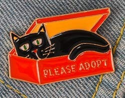Please Adopt Cat Animal Enamel Brooches Pin from Pins