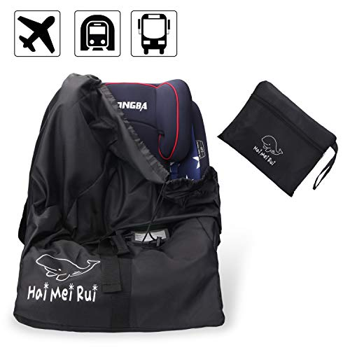 Car Seat Travel Bag - Padded Gate Check Drawstring Bag for Air Travel Waterproof Adjustable Strap Backpack - Child Safety Seat and Stroller - Keeps Hands Free ()