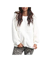 BETTERUU Women Sweater Solid Patchwork Full Long Sleeve Top Warm Blouse Tunic