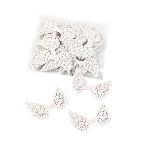 Glitter Angel Wings Fabric 50Pcs For DIY Crafts Hair Accessories Home Party Gift Decoration (Glitter White) ()
