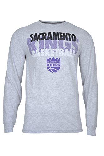 NBA Men's Sacramento Kings T-Shirt Supreme Long Sleeve Pullover Tee Shirt, Small, Gray