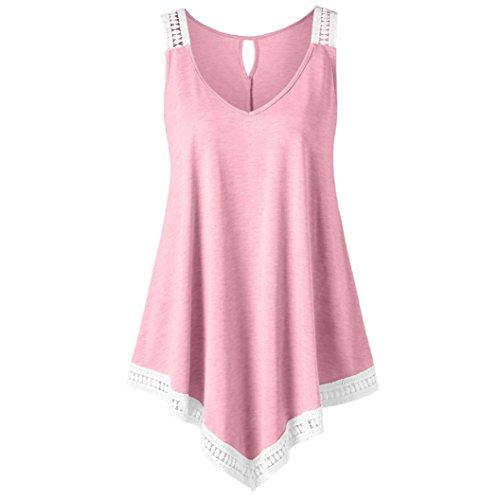 FEITONG Fashion Womens Casual V-Neck Swing Lace Asymmetrical Solid Vest Tank Tops Blouse(XX-Large,Pink) -