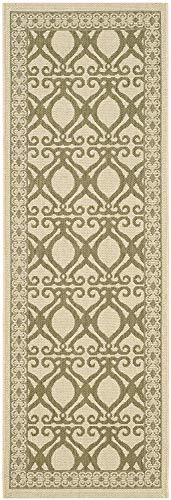 Courtyard Collection CY3040-1E01 Natural and Olive Indoor/Outdoor Runner (2'3