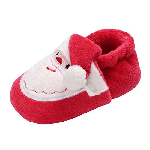 Tinksky Baby Booties Winter Warm Soft Slippers Infant Boots Toddler Christmas Santa Slippers 11CM