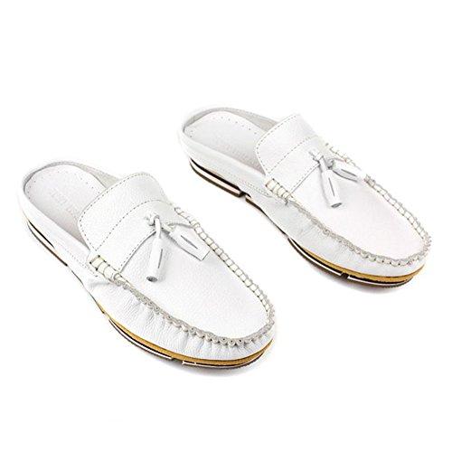 Santimon-mannen Comfortabele Zachte Lederen Backless Pantoffels Vrije Tijd Instappers Loafers Slippers Schoenen Wit