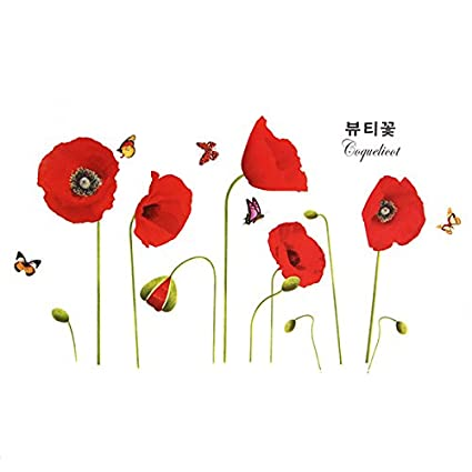 Amazon red poppy flowers wall stickers mural art decals red poppy flowers wall stickers mural art decals wallpaper reusable removable mightylinksfo
