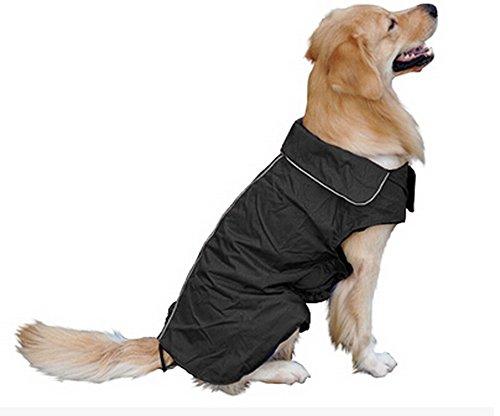 Hundemantel Regenmantel Hund Hundebekleidung Hundejacke Wintermantel Regenjacke-Schwarz (XL)