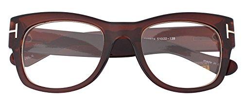 Oversized Square Thick Horn Rimmed Clear Lens Eye Glasses Frame Non-prescription (Brown, - Brown Nerd Glasses
