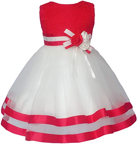 (Baby Girl Dresses Red Birthday Wedding Party Little Flower Girl Pageant Princess Dress 3 6 9 Months)