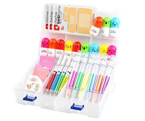 Pen Syringe 6 Syringe Highlighter Pens, 4 Syringe Pens,12 Capsule Pens, 3 Band Aid Sticky Notes, Cute School Supplies Novelty Pens, Prizes And Giveaway -