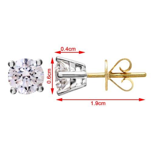 Revoni-Boucles d'Oreilles Clous en Or Jaune 18Carats Diamant rond brillant certifié H/SI Boucles d'oreilles diamant 1carat, poids du Diamant