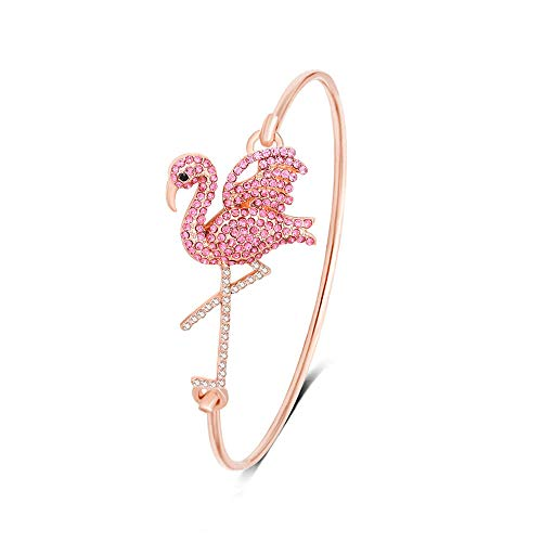 MAMZHEN Open Pink Flamingo Bird Bangle Bracelet for Women (Rose Gold)