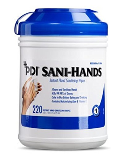 PDI Sani-Hands Antimicrobial Alcohol Gel Hand Wipes Canister 6