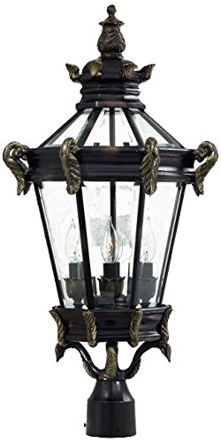 Stratford Hall Five Light (Minka Lavery 8936-95 4-Light Outdoor Post Mount, Heritage with Gold Highlights)