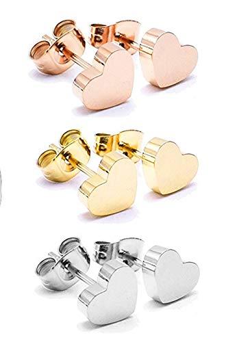 RC Earrings Women Girls Jewelry Set 3 Pairs 14K Rose Gold Plated Titanium Steel Heart Love Earrings