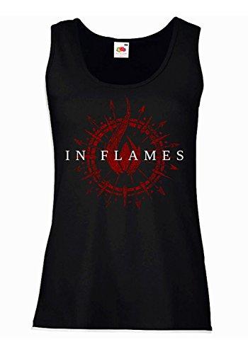 "Camiseta de tirantes mujer ""In Flames"" - Red Logo 100% algodòn LaMAGLIERIA"