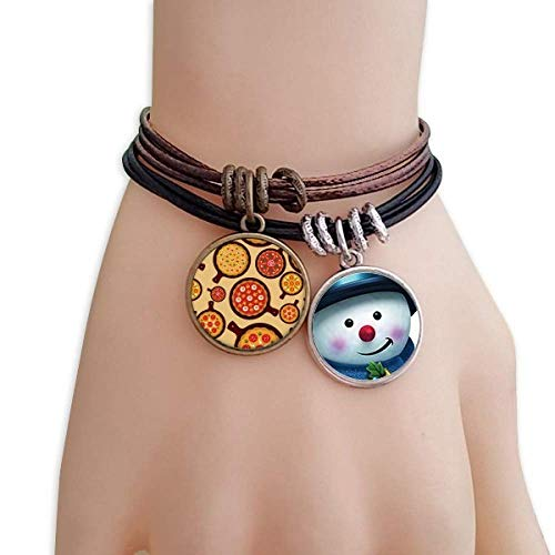 (DIYthinker Pizza Italy Tomato Foods Peppers Snowman Leather Rope Bracelet Handmade)
