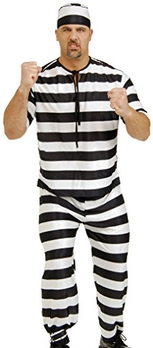 Rubie's Costume Co Men's Adult Prisoner Man Costume, Black/White, (Con Man Halloween Costume)