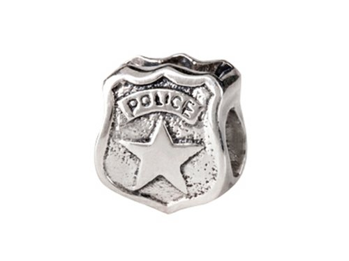 SilveRado Sterling Silver Police Badge Bead/Charm (Bead Silverado Charm)