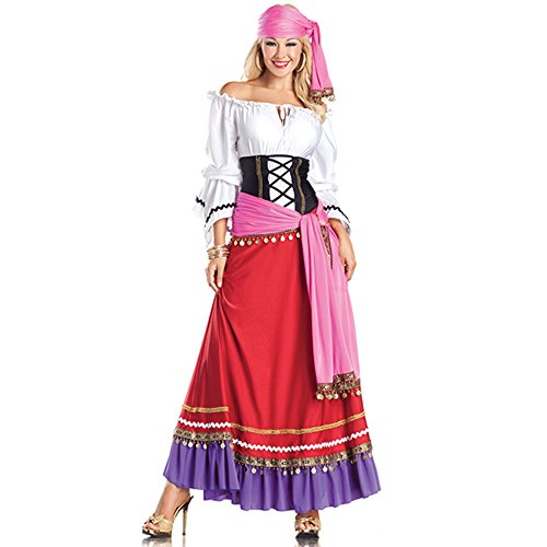 Be Wicked Tempting Gypsy Costume, Red/White/Purple/Black, Medium/Large (Sexy Gypsy Costumes)