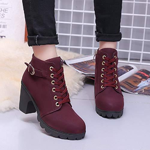Caviglia Tacco Stivali Donna Bassi Ankle con Stivaletti 35 Stivali Martin Nero Boots Rosso Invernali Pelliccia Autunno 41 Rosso rdHtHxw