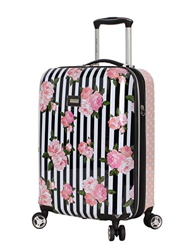 Betsey Johnson Designer 20 Inch Carry On - Expandable (ABS + PC) Hardside Luggage - Lightweight Durable Suitcase With 8-Rolling Spinner Wheels for Women (Stripe Roses)