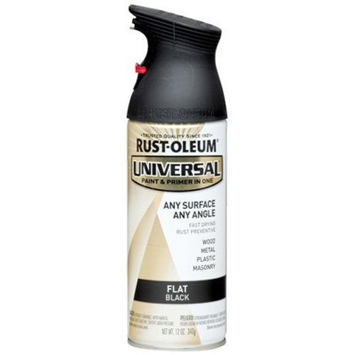 Rust-Oleum 245198 Universal All Surface Spray Paint, 12 oz, Flat Black, 12-Ounce