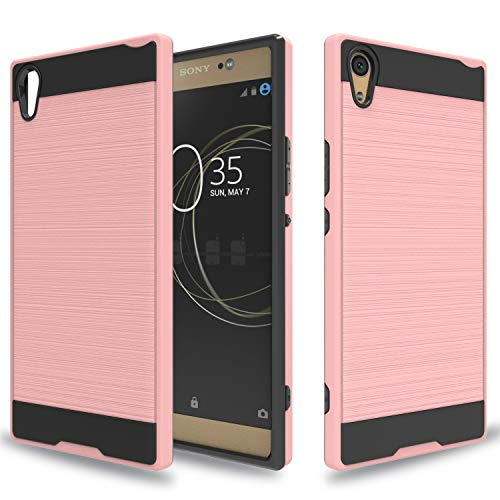 Wtiaw for:Sony Xperia XA1 Ultra Case,Sony Xperia XA1 Ultra Dual Case, [TPU+PC Material] [Brushed Metal Texture] Hybrid Dual Layer Defender Case for Sony Xperia XA1 Ultra-CL Rose Gold