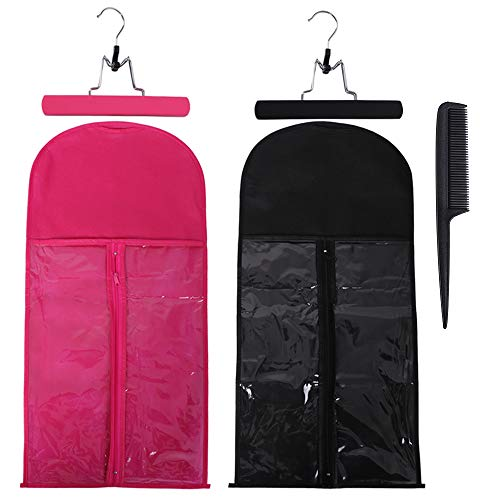 2 Pack Hair Extension Storage Bag with Hanger Holder Holder Dust Proof Portable Hair Extension Bag Carrier Case with Transparent Zip Up Closure for Travel (Rose Red, Black)