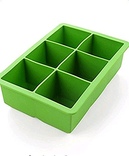 Vi.yo Ice Maker Food Grade Silicone Ice Cube Tray Freezer Box for 6 Large Cubes (Green)
