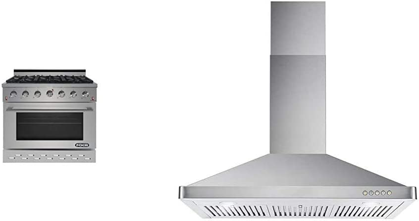 "NXR SC3611 36"" 5.5 cu.ft. Pro-Style Natural Gas Range with Convection Oven, Stainless Steel & Cosmo 63190 36 in. Wall Mount Range Hood with Ductless Convertible Duct, Chimney-Style Over Stove Vent"