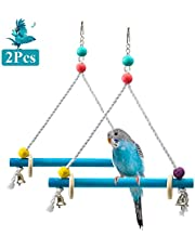 ASOCEA Bird Swing Toy Parrot Perch Cage Stand Hanging Stick for Parakeets Playing Climbing Lovebirds Cockatiels Africa Grey Budgies