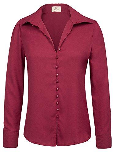 GRACE KARIN Womens Long Sleeve Button Down Chiffon Blouse Top