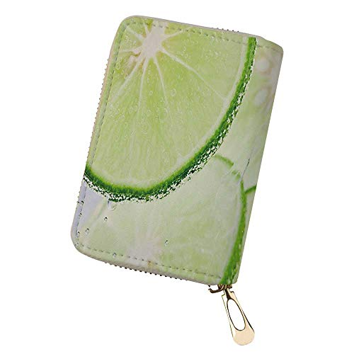 Womens Credit Card Holder Wallet Fresh lime and soda Zip Leather Card Case