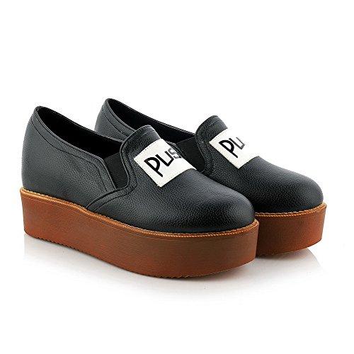 Amoonyfashion Womens Assorted Color Lage Hakken Pull On Ronde Gesloten Teen Pumps-schoenen Zwart