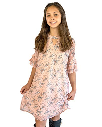 Smukke 7-16 Big Girls Elegant Floral Printed Off The Shoulder Long Sleeves Dress and Rompers