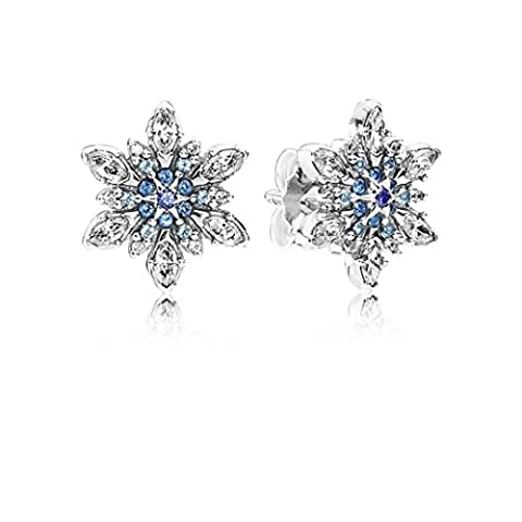 TS Crystalized Snowflake Blue Crystals & Clear CZ Stud Earrings in 925 sterling silver (Sterling Snowflake Earrings)