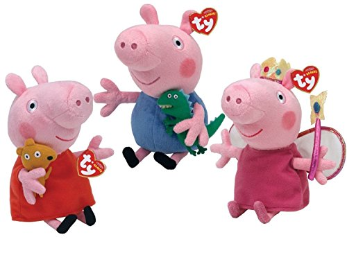 TY Beanie Babies - PEPPA PIG CARTOON (Set of 3 Peppa, Princess Peppa & George) (UK (Peppa Pig Beanie Baby)