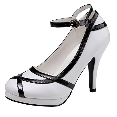 Black Retro Pumps (Getmorebeauty Women's Vintage Retro Black And White Ankle Strappy Buckle Dress High Heels (7.5 B(M) US, White And Black))