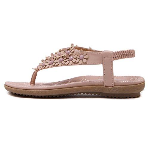 Summer Strap Elastic Slip Meeshine T Flat On Flip Pink Flops Flower Beaded Sandals EwSqOdBq0x
