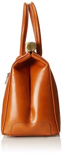 véritable Cuoio bandoulière et élégant 35x28x16cm Femme CTM avec en poignées Satchel cuir Sac Orange wxqaBvBpF