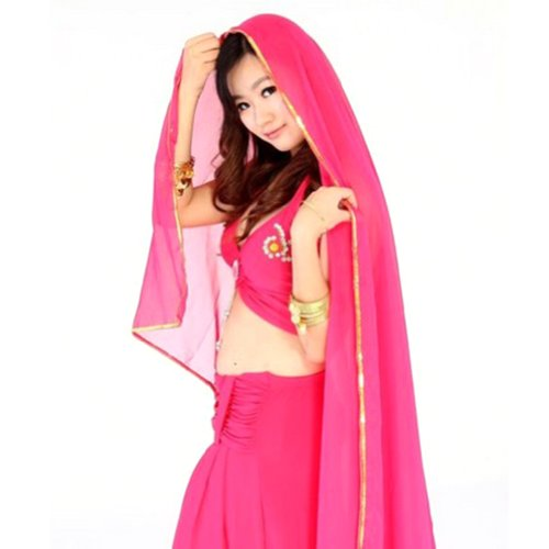 BellyLady Stunning Handmade Chiffon Belly Dance Veil, For Practice-ROSERED