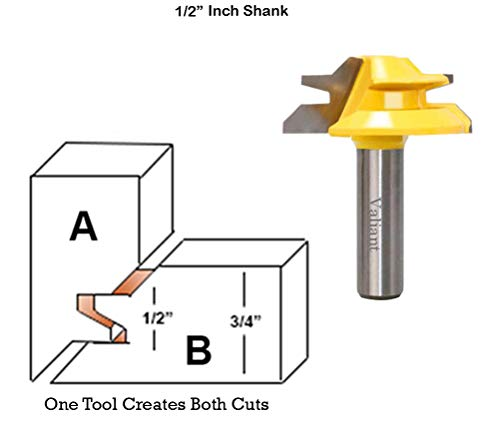 (Valiant 45° Lock Miter Router Bit With 1/2 Inch Shank - 45-Degree Angle Miter Joint Cutter w/Anti-Kickback Design - Premium Woodworking Tool For Wood, MDF, Density Board, Chipboard, Splints & More)
