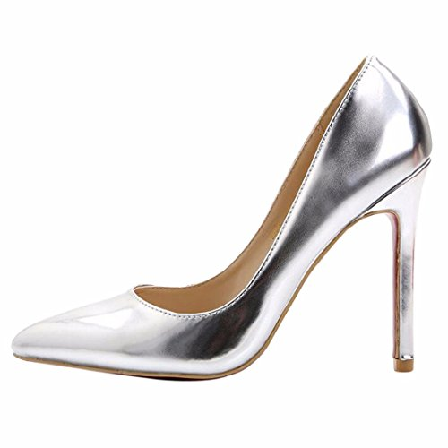 High Pump Shoes Heel Toe Women 2016 Faus Sexy Stilettos Fashion Pointy Silver Leather wXxf4zTq