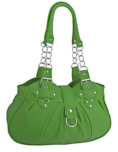 EyeCatchBags - Huron Faux Leather Womens Shoulder Bag Handbag Black Apple Green