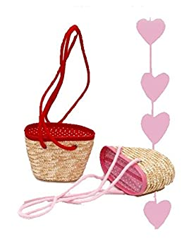 Bolso capazo para niñas y niños de palma. En color rojo o rosa. Tipo bandolera.: Amazon.es: Hogar