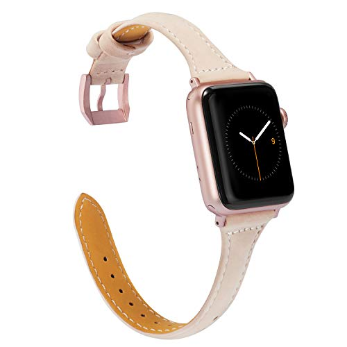 Wearlizer Slim Leather Watch Band 42mm 44mm for iWatch Womens Genuine Thin Leather Sport Straps Wristbands Cute New Bracelet with Rose Gold Metal Buckle Series 4 3 2 1 Edition-Beige