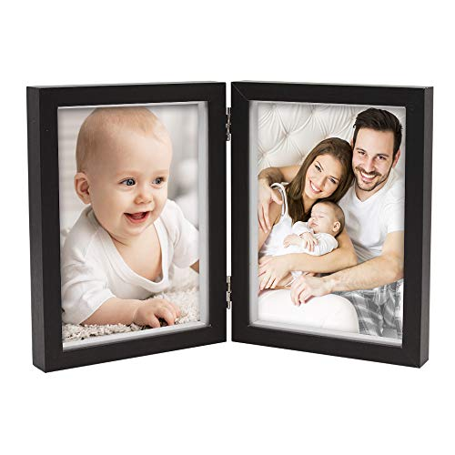 Afuly Double Picture Frame 5x7 Vertical Hinged Photo Frames Black Wooden Shadow Box Family Christmas Gift