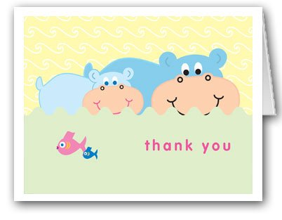 Hippo Family Thank You Note Card- 10 Cards & Envelopes (Hippo Note Card)